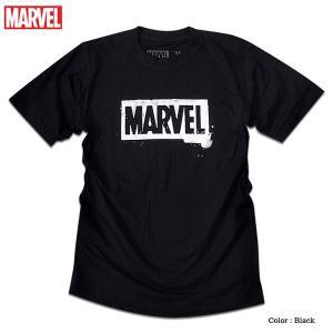 マーベル Tシャツ 半袖 ボックスロゴ プリント MARVEL アメコミ tシャツ グッズ メンズ キャラクター 黒 ブラック|eversoul