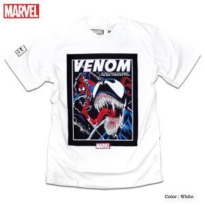 マーベル Tシャツ 半袖 スパイダーマン ヴェノム プリント キャラクター MARVEL アメコミ tシャツ グッズ メンズ キャラクター 白 ホワイト|eversoul