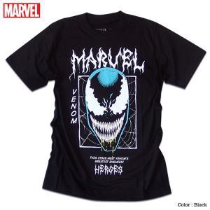 マーベル Tシャツ 半袖 スパイダーマン ヴェノム プリント キャラクター MARVEL アメコミ tシャツ グッズ メンズ キャラクター 黒 ブラック|eversoul