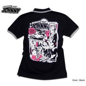 ポロシャツ 半袖 メンズ EVERSOUL 殺し屋ジョニー キャラクタープリント|eversoul