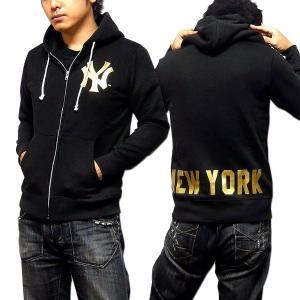 パーカー メンズ ジップパーカー ニューヨーク ヤンキース Majestic Japan マジェスティック ブラック 黒 ジップアップパーカー|eversoul