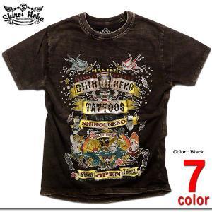 タトゥモチーフのド派手なプリントが注目度大のムラ染めウォッシュ加工Tシャツ!箔プリントを部分的に組み...