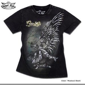シロイネコ Tシャツ メンズ スカル 死神 ウイング 羽根 ブラック 黒|eversoul