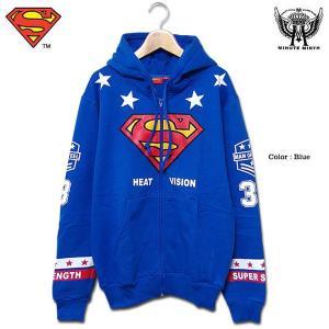 スーパーマン パーカー グッズ メンズ SUPER MAN ジップパーカー 裏起毛 ブルー ジップアップ|eversoul