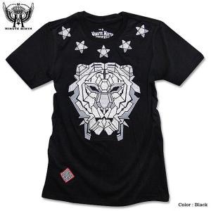 刺繍 Tシャツ ライオン スター 星柄 ロック バイカー モーターサイクル メンズ バンド 衣装 ブラック 黒|eversoul