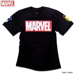 マーベル Tシャツ 半袖 袖 プリント ボックスロゴ MARVEL tシャツ グッズ メンズ キャラクター 黒 ブラック アイアンマン キャプテンアメリカ|eversoul