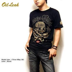 Tシャツ バイカー スカル ロック メンズ 半袖 プリント ブラック