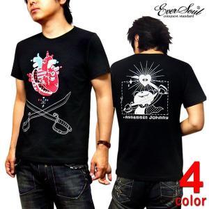 Tシャツ メンズ 殺し屋ジョニー タカハシヒロユキ キャラクター プリント コラボ 黒 ブラック|eversoul