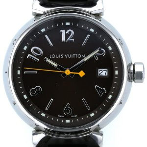 ルイヴィトン Louis Vuitton タンブール デイト Q1311 クオーツ ブラウン 文字盤 3針式 メンズ 腕時計 【pa】【中古】 everydaygoldrush
