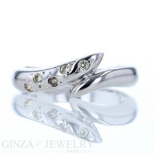 K18WG ホワイトゴールド リング ダイヤモンド 5粒 ツイスト ウェーブ 波 デザイン 9号 指輪【新品仕上済】【af】【中古】|everydaygoldrush