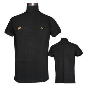 EVISUエヴィス モックネック半袖シャツ/EVISU×YAMANE/ブラック/EVISUジーンズ|evisu