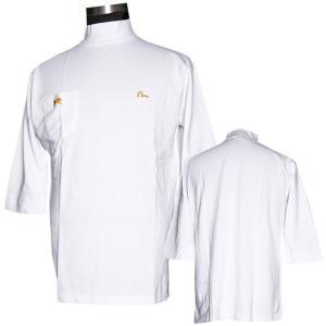 EVISUエヴィス モックネック七分袖シャツ/EVISU×YAMANE/ホワイト/EVISUジーンズ|evisu