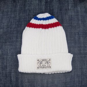 EVISUエヴィス COTTON KNIT CAP/ITALY PLAIN/ BORDER/WHITE/ニット帽/EVISUジーンズ|evisu