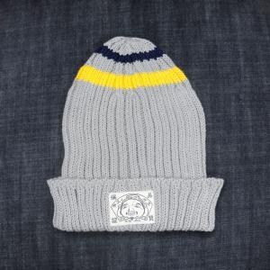 EVISUエヴィス COTTON KNIT CAP/ITALY PLAIN/ BORDER/GRAY/ニット帽/EVISUジーンズ|evisu