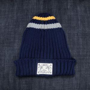 EVISUエヴィス COTTON KNIT CAP/ITALY PLAIN/ BORDER/NAVY/ニット帽/EVISUジーンズ|evisu