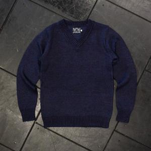 EVISUエヴィス コットンニットセーター Vネック D.IND 002/EVISUジーンズ|evisu