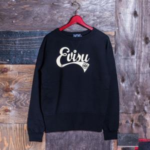 EVISUエヴィス《ESPERTO C》 SWEAT CREW-NECK EVISUプリント/BLACK/EVISUジーンズ|evisu