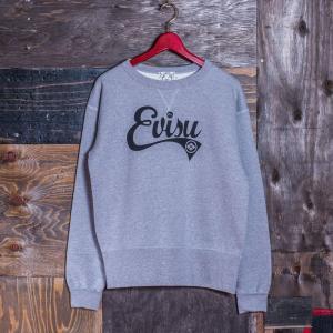 EVISUエヴィス《ESPERTO C》 SWEAT CREW-NECK EVISUプリント/GRAY/EVISUジーンズ|evisu