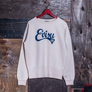 EVISUエヴィス《ESPERTO C》 SWEAT CREW-NECK EVISUプリント/NATURAL/EVISUジーンズ|evisu