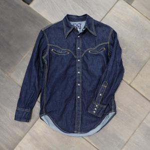【ワンウォッシュ】EVUSUエヴィス JESSIE SMILE-POCKET WESTERN SHIRT DENIM/EVISUジーンズ|evisu