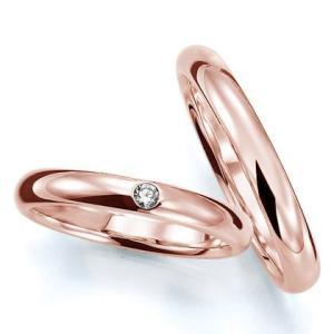 ペアリング(2本セット) 結婚指輪 マリッジリング 結婚記念 K18ピンクゴールド 《Prime M0016》 ダイヤモンドリング 日本製|evj-cc
