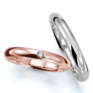 ペアリング(2本セット) 結婚指輪 マリッジリング 結婚記念 K18ピンクゴールド&ホワイトゴールド 《Prime M0016》 ダイヤモンドリング 日本製|evj-cc