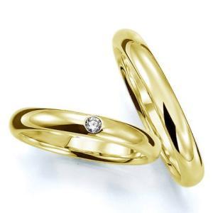 ペアリング(2本セット) 結婚指輪 マリッジリング 結婚記念 K18イエローゴールド 《Prime M0016》 ダイヤモンドリング 日本製|evj-cc