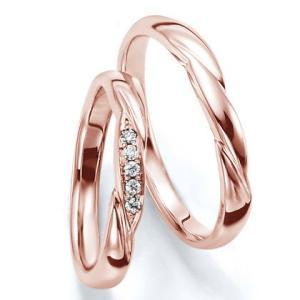 ペアリング(2本セット) 結婚指輪 マリッジリング 結婚記念 K18ピンクゴールド 《Wish M0030》 ダイヤモンドリング ギフト 日本製|evj-cc