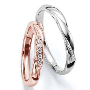 ペアリング(2本セット) 結婚指輪 マリッジリング 結婚記念 K18ピンク&ホワイトゴールド 《Wish M0030》 ダイヤモンドリング ギフト 日本製|evj-cc