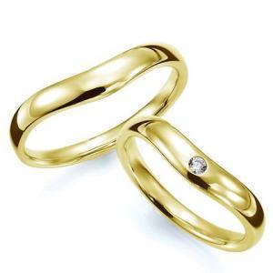 ペアリング(2本セット) 結婚指輪 マリッジリング 結婚記念 K18イエローゴールド 《Prime M0033》 ダイヤモンドリング ギフト 日本製|evj-cc