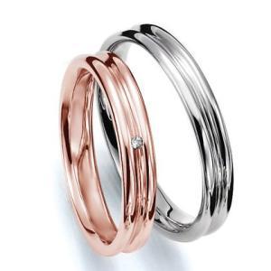 ペアリング(2本セット) 結婚指輪 マリッジリング 結婚記念 K18ピンクゴールド&K18ホワイトゴールド 《Prime M0035》 ダイヤモンドリング ギフト 日本製|evj-cc