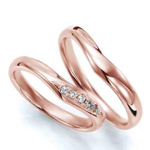 ペアリング(2本セット) 結婚指輪 マリッジリング 結婚記念 K18ピンクゴールド 《Wish M0036》 ダイヤモンドリング ギフト 日本製|evj-cc