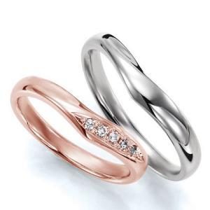 ペアリング(2本セット) 結婚指輪 マリッジリング 結婚記念 K18ピンクゴールド&K18ホワイトゴールド 《Wish M0036》 ダイヤモンドリング ギフト 日本製 evj-cc