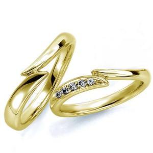 ペアリング(2本セット) 結婚指輪 マリッジリング 結婚記念 K18イエローゴールド 《Wish M0181》 ダイヤモンドリング ギフト 日本製|evj-cc