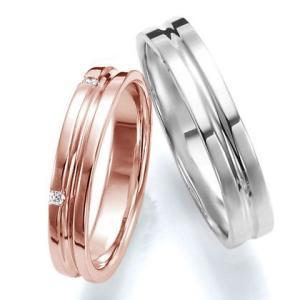 ペアリング(2本セット) 結婚指輪 マリッジリング 結婚記念 K18ピンクゴールド&K18ホワイトゴールド 《Wish M0251》 ダイヤモンドリング ギフト 日本製|evj-cc