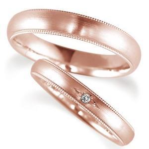 ペアリング(2本セット) 結婚指輪 マリッジリング 結婚記念 K18ピンクゴールド ダイヤモンドリング 鍛造製法 ミル打ち加工 《Solid M0671WR》 日本製|evj-cc