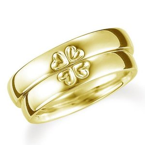 ペアリング(2本セット) 結婚指輪 マリッジリング 結婚記念 K18イエローゴールド 二つのリングを合わせると四葉のクローバー 《Lelier M0709》 日本製 evj-cc