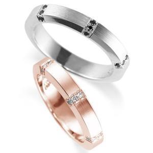 ペアリング(2本セット) 結婚指輪 マリッジリング 結婚記念 プラチナ900&K18ピンクゴールド 鍛造製法 ダイヤモンドリング 《Solid M0925WR》 日本製|evj-cc