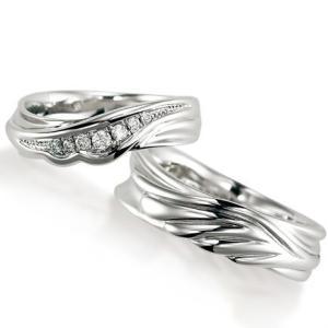 ペアリング(2本セット) 結婚指輪 マリッジリング 結婚記念 プラチナ900 ダイヤモンドリング 《Nourish M0982》 日本製|evj-cc