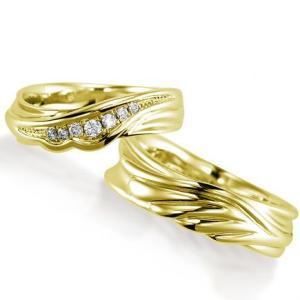 ペアリング(2本セット) 結婚指輪 マリッジリング 結婚記念 K18イエローゴールド ダイヤモンドリング 《Nourish M0982》 日本製|evj-cc
