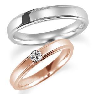 ペアリング(2本セット) 結婚指輪 マリッジリング 結婚記念 K18ピンクゴールド&K18ホワイトゴールド ダイヤモンドリング 《Proud M1037》 日本製|evj-cc
