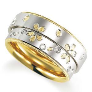 ペアリング(2本セット) 結婚指輪 マリッジリング 結婚記念 鍛造製法 ミル打ち加工 プラチナ900/K18イエローゴールド ダイヤモンドリング 《Solid M2078WR》|evj-cc