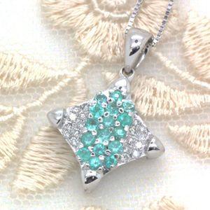 超希少石♪ブラジル産パライバトルマリン0.33ct ダイヤモンド K18ホワイトゴールド パヴェ ペンダントネックレス|evj-cc