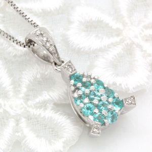 超希少石♪ブラジル産パライバトルマリン0.23ct ダイヤモンド K18ホワイトゴールド パヴェ ペンダントネックレス|evj-cc