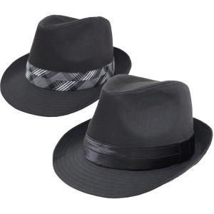 帽子 メンズ 中折れハット 大きいサイズ 65cm対応 無地ボディ2段テープ
