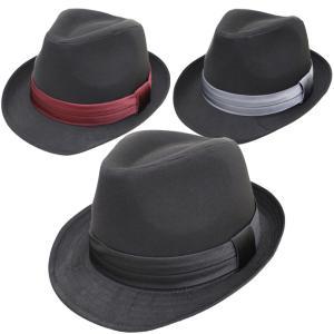 帽子 メンズ ハット 大きいサイズ 中折れハット 62cm対応 ブラックボディー&無地サテンリボン