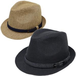 帽子 メンズ 大きいサイズ 65cm対応 フェイクリネンデニムベルト中折れハット