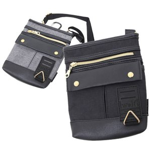 杢調ポリエステル地のボディーにパイピングやポケットのかぶせに合皮を組み合わせた2WAYのシザーバッグ...