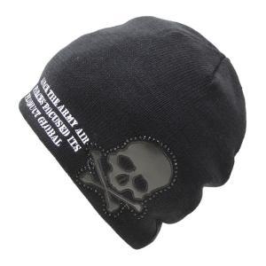 ニット帽 メンズ スカルエンブレム ブラック ネコポス対応 全国送料無料