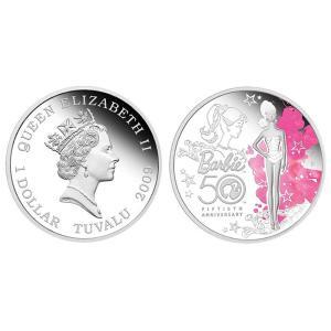 【バービー在庫処分】 バービー 生誕50周年記念 1オンス シルバー 記念コイン|excalibur